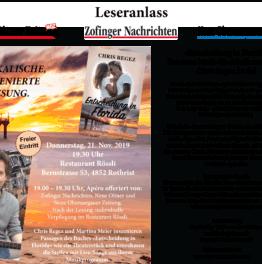Musikalische Lesung am Donnerstag, 21. Nov. 2019 in Rothrist